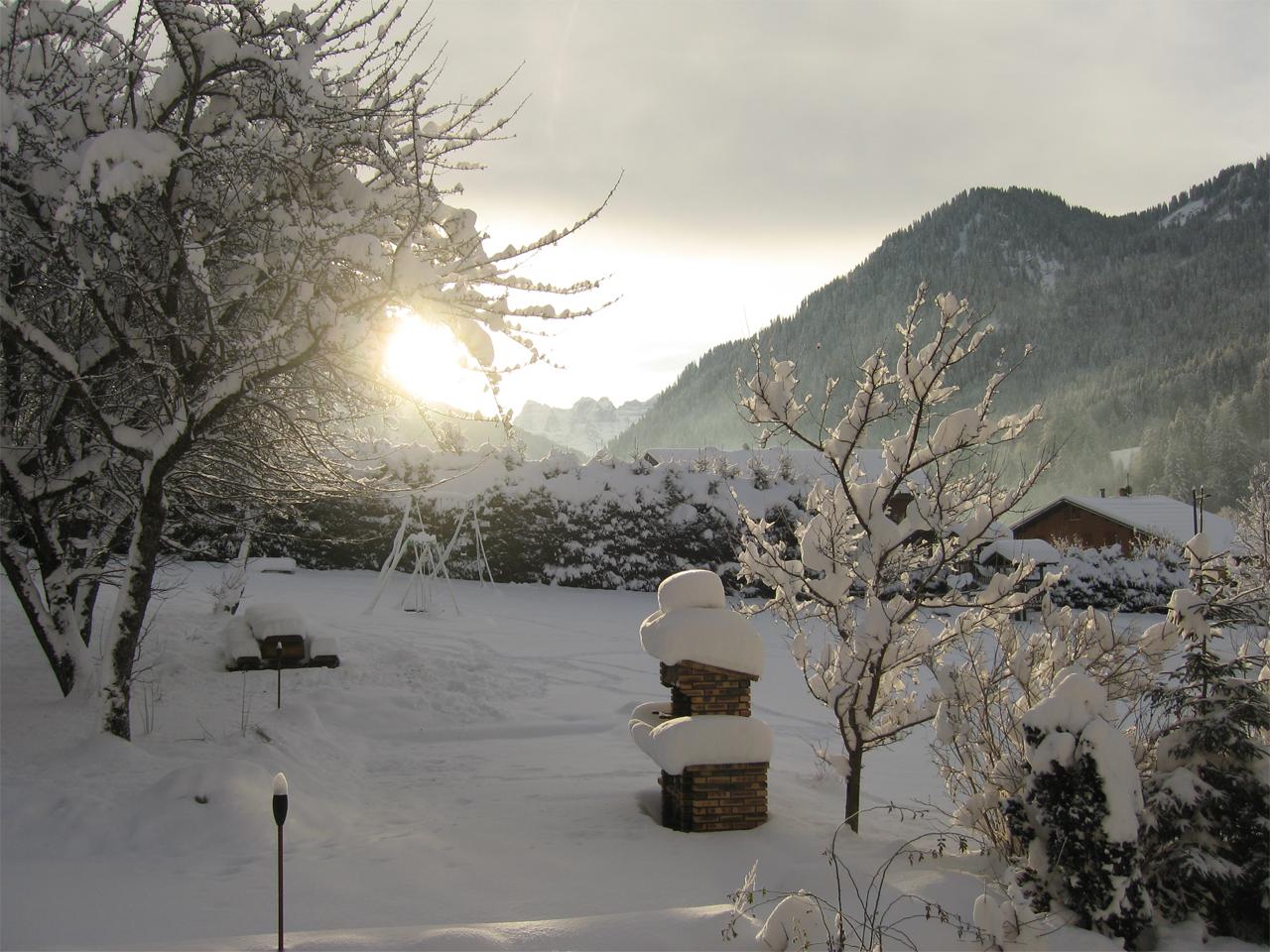 Hotel - Tuin met sneeuw en zon