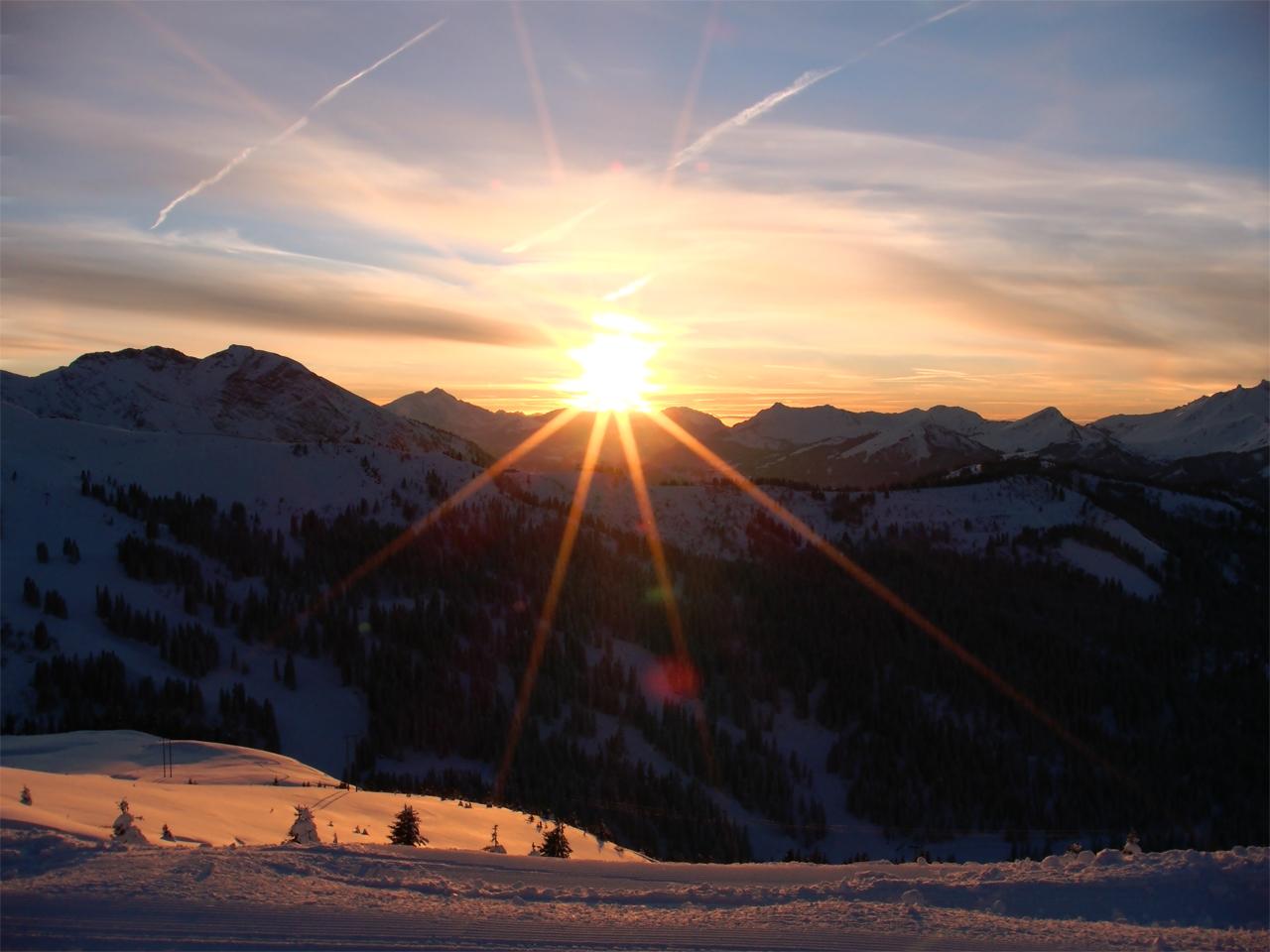 Omgeving - Ondergaande zon in winter